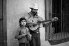 Street music. Father and daughter. Oaxaca de Juarez, Mexico