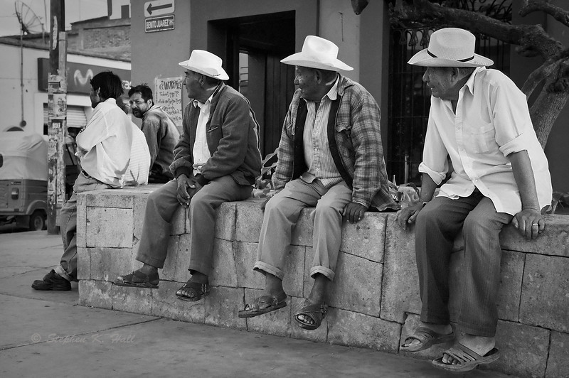 Gathering, town square. Mitla, Oaxaca, Mexico