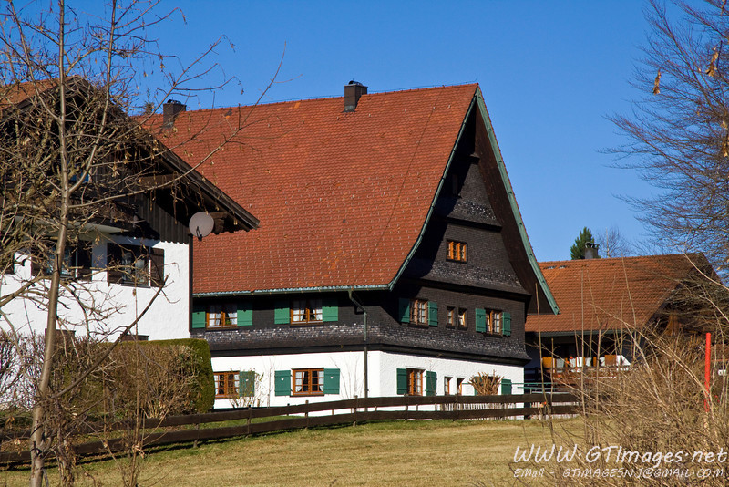 Oberstaufen, Germany - one of the many guest houses in town. The town has a large tourist industry, including skiing. The skiing appears to be moderate in diffuculty, as the steep part of the Alps was another 30 miles to the south.