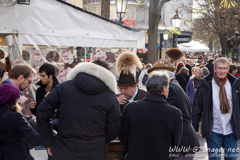 München, Germany - Viktualienmarkt is packed with people.