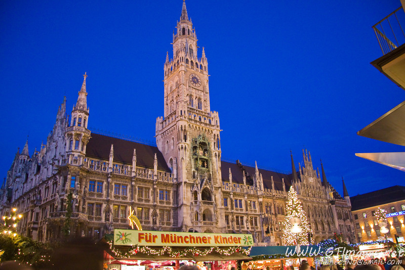 München, Germany. Evening at the Christkindlmarkt.