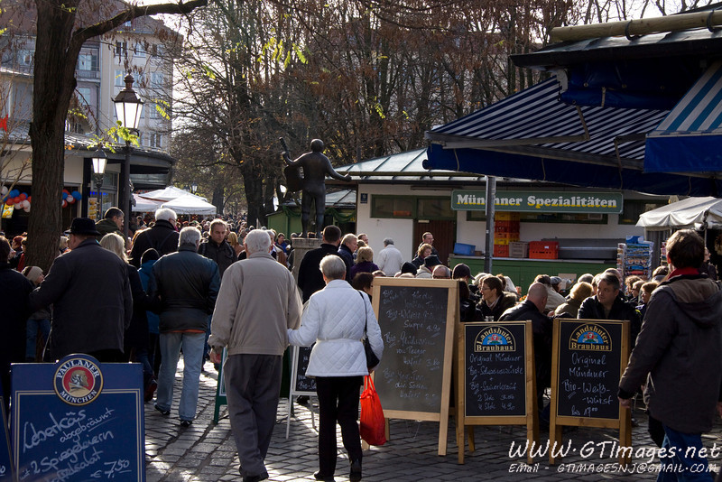 München, Germany - Bier garten's still open, and packed with people, in November.