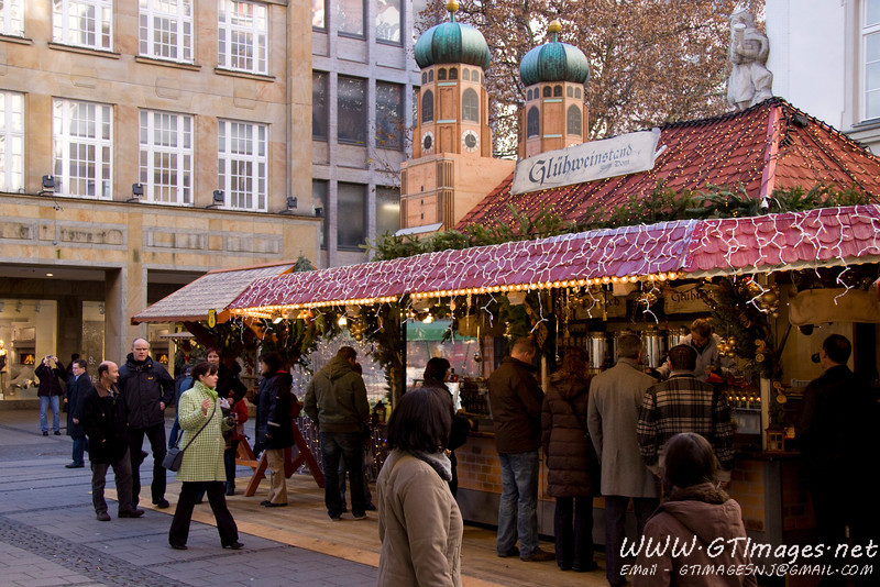 München, Germany - Gluhwein stands at the Christkindlmarkt. Each neighorhood has it's own Christkindlmarkt.