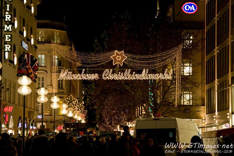 München, Germany. Evening at the Christkindlmarkt.