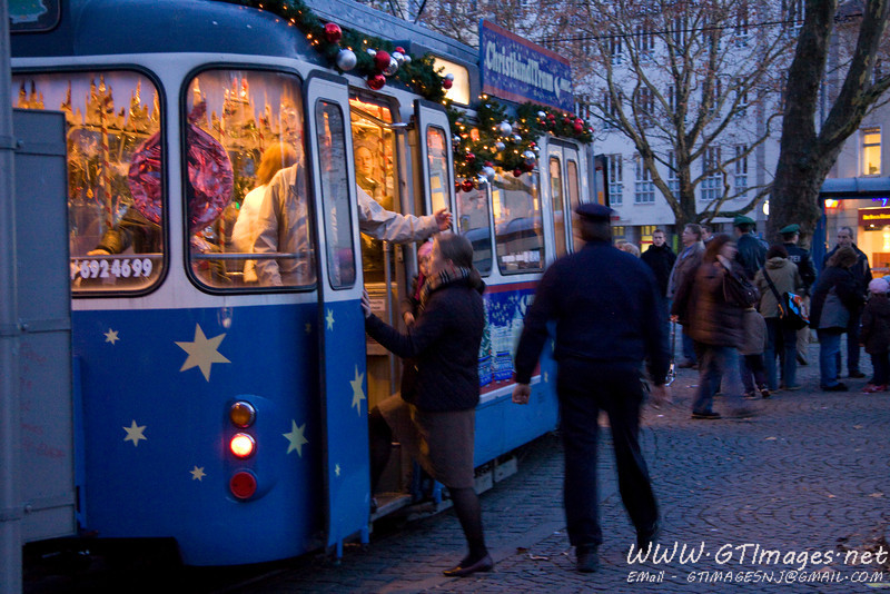 München, Germany. Even the tram is decorated - inside and out. This is the Christkindl tram. Complete with Gluhwein inside. This is not a tram that is just for kids!.