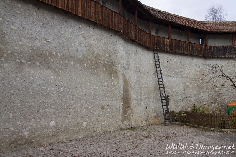 Wangen, Germany - fortifications...notice the statue of the guy climing the wall.