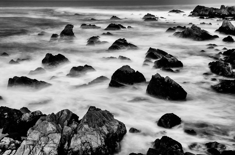 Monterey rocks at dusk