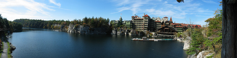 Mohonk Mountain House, New Paltz, NY --- The shots used for this panorama were made using the G3's panoramic assist mode. No conversion lenses were used. All shots were at 1/800 s, f/4, Auto ISO (locked), 7 mm (minimum focal length; 35 mm equiv.: 35 mm), auto focus at infinity, and auto white balance (locked). Panorama Factory 3.1 was used to do the stitching using cylindrical reprojection and no exposure matching or adjustment. All 5 images were used to create the panorama. Photoshop 7 was used to perform the final conversion from TIFF to JPEG.