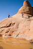 Cristy, Leigh and Cindy hiking over some Steep Sandstone in Arches National Park - Photo by Pat Bonish