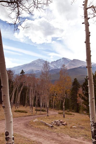 Long's Peak as seen through a pair of Aspen trees. Rocky Mountain National park, Colorado.