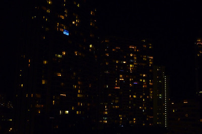 Christmas lights in the high rise condos in Honolulu