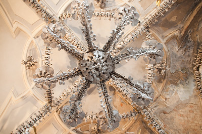 Chandelier comprised of human bones. Ossuary Church, Kutna Hora, Czech Republic.