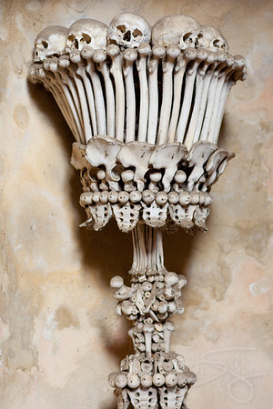 Human Skull and Bones sconce. Ossuary Chapel. Czech Republic.