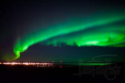 Swirling electromagnetic storm. Aurora borealis over Kotzebue, AK
