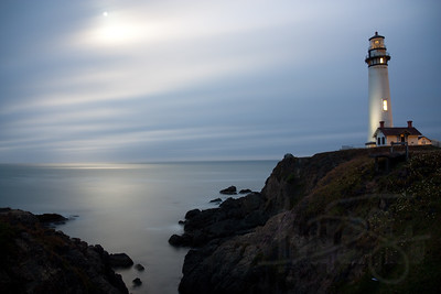 moonlit evening at pidgeon point lighthouse. pescadero, ca