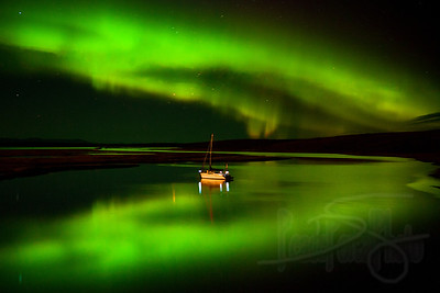 Aurora and the channel. Kotzebue, AK