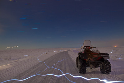Arctic startrails and lightpainting along the 8 mile road. Kotzebue, AK