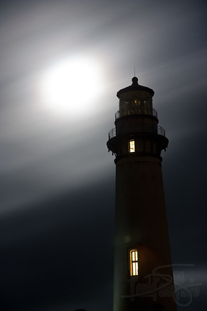 moonlit lighthouse. pidgeon point lighthouse at pescadero, ca
