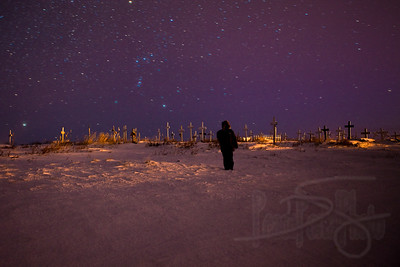 Watching the cosmos at Cemetery Hill. Kotzebue, AK.