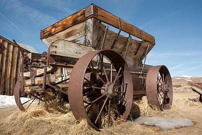 abandoned mining cart. ghost town of bodie, ca