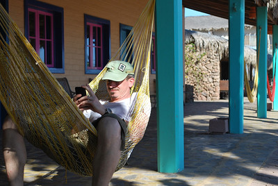 relaxing in a hammock - but not without an iPhone