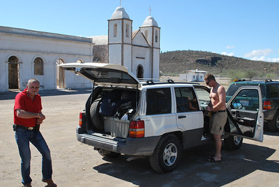 Heinz pops a beer at Mission San Luis Gonzaga