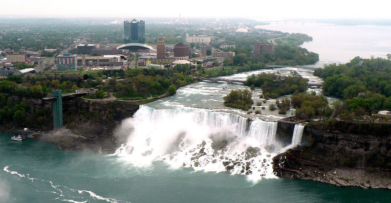 Looking at the American (Niagara) Falls from our hotel room. The small falls at the right is Bridal Vail Falls.