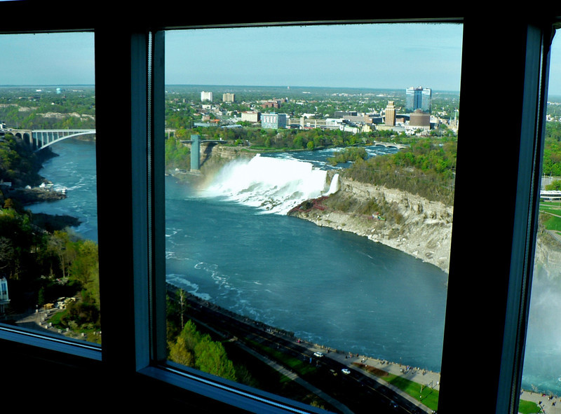 Views of Niagara Falls from our hotel room. Looking at the American (Niagara) Falls.