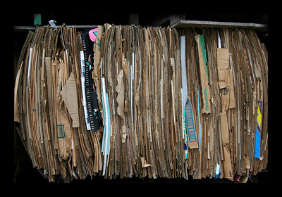 deer isle, cardboard at recycling center