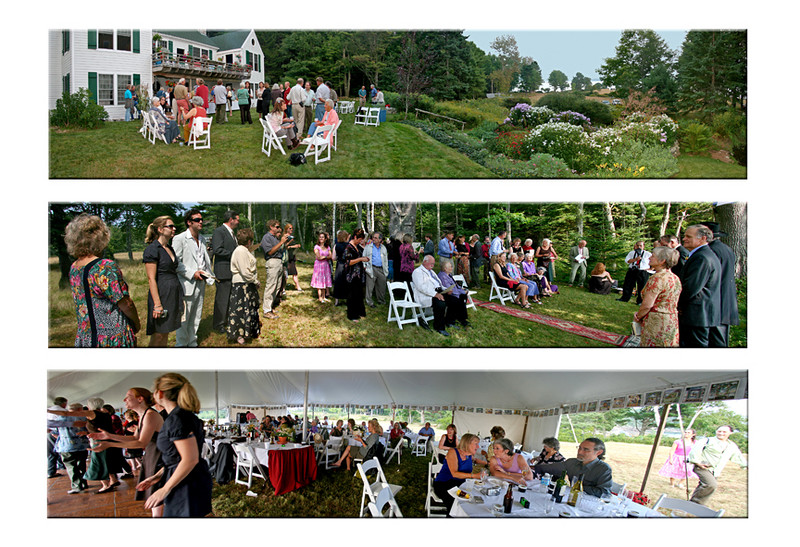 barbecue, wedding and reception panoramas