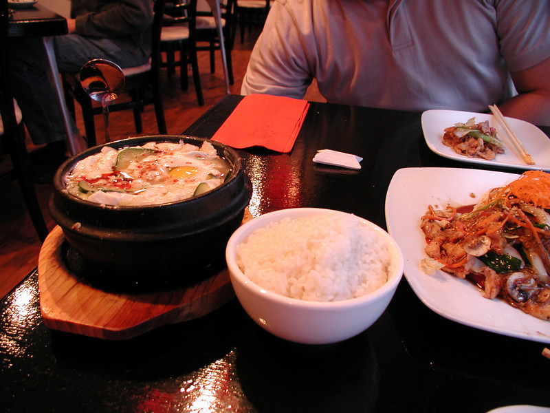 Sundubou jigae (soft tofu soup, this time with clams and an inexplicable side of rice). Sung Korean Bistro. Meeting Hai in Cincinnati, 4/16