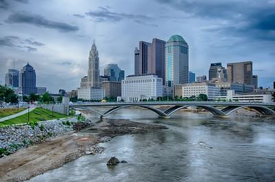 Columbus, Ohio skyline reflected in the Scioto River. Columbus is the capital of Ohio