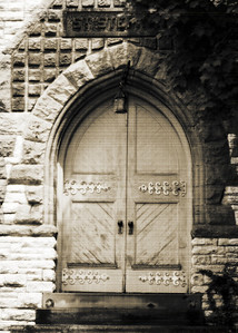 2010.05.10 - Day 59:  I've driven by the Cornerstone Baptist Church off Winton Road in Cincinnati a few times now.  Each time I thought about how much I liked the old doors  Today I took a few minutes to stop and snap a picture.  View in x3 for best details.  I thought vintage processing would bring out the character of the door.  THANK YOU for all the wondeful comments on the portrait of my mom yesterday.  She truly is the best!