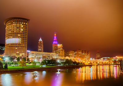 Cleveland. Image of Cleveland downtown at night