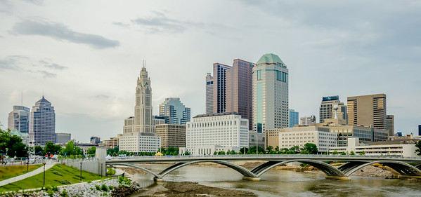 Columbus Ohio skyline and downtown streets in late afternoon