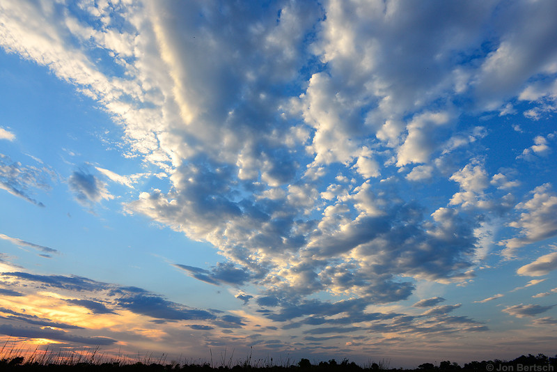 Clouds at sunset over the delta, Okavango Delta, Botswana.