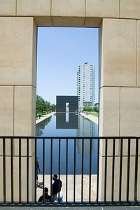 The 9:03 Gate and The Reflecting Pool, framed by the 9:01 Gate.