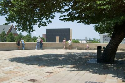 The circular promomtory surrounding the tree offers a place for viewing the Memorial.