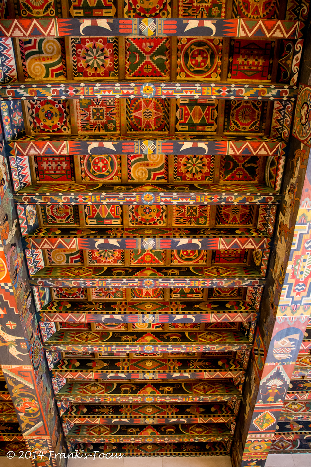 The ceiling in the inner lounge is one-of-a-kind. Before this ceiling was painted, one of the Italian artist's assistants went to Washington D.C. and spent six weeks studying Oklahoma history at the Smithsonian Institute.<br /> <br /> The ceiling depicts the history of Kay County beginning with the pre-Columbian Indians, then the more familiar Plains Indians.<br /> <br /> With each beam, the history of the county progresses showing the last of the great land runs, the run of 1893 that opened this part of Indian Territory to the settlers. <br /> <br /> The final beam features Ponca City in the 1920's, including the oil rigs and this mansion.