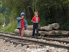 The only way along the Vasser Valley (Valea Vaserului), the railroad is used by both trains and local pedestrians... Here two kids near Viseul de Sus. 2004