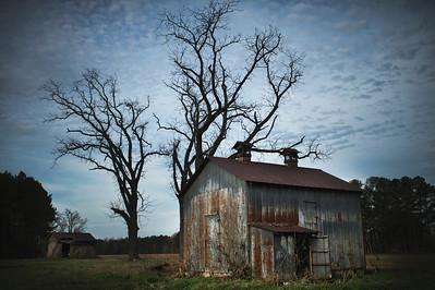 Shacks in Abandoned Field