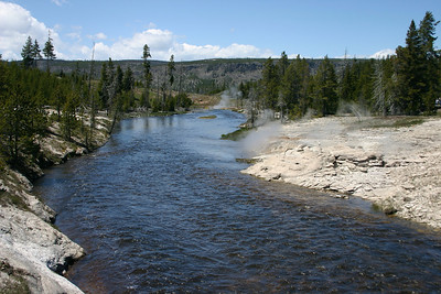 The Firehole River, which flows through the the three major thermal areas around Old Faithful, the Upper Geyser Basin, Middle and Lower Geyser Basins.