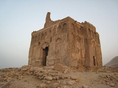 The exterior of the tomb from the back.  The piece sticking up is the remaining section of the original dome.