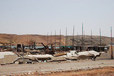 All that remains of the famous dhow building yards at Sur.  The yard was destroyed by fire last year.