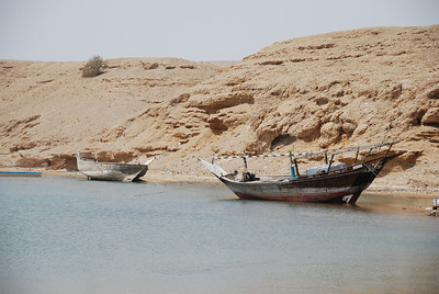 Dhows in the estuary at Sur