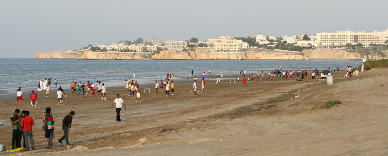 Muscat tide out, one continuous football game