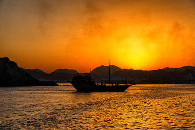 Sunset, Muscat with another dhow