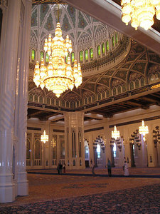 Grand Mosque interior.  The world's largest chandelier (the photo can't do justice to the sheer scale but just look at the size of the people underneath for comparison.)