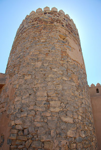 Photo showing the construction of one of the towers at Rustaq Castle.
