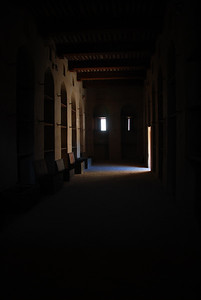 Interior at Rustaq Castle. The photo is either brooding and eerie or dark and depressing, it depends on who you ask.......